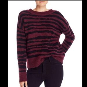 NWT Burgundy Pullover Cozy Animal Print Sweater